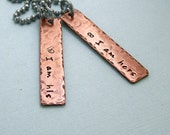 His and Hers Wedding Vow Necklaces - Hand Stamped Copper - Couples Jewelry