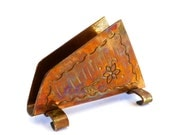 Vintage Weeda Copper Napkin Holder, made in Tasmania Australia, Mid Century arts and crafts, flower, hand stamped, tarnished, V0502