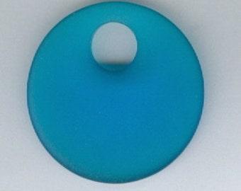 Pacific Blue Sea Glass Go Go Pendant Bead 30mm