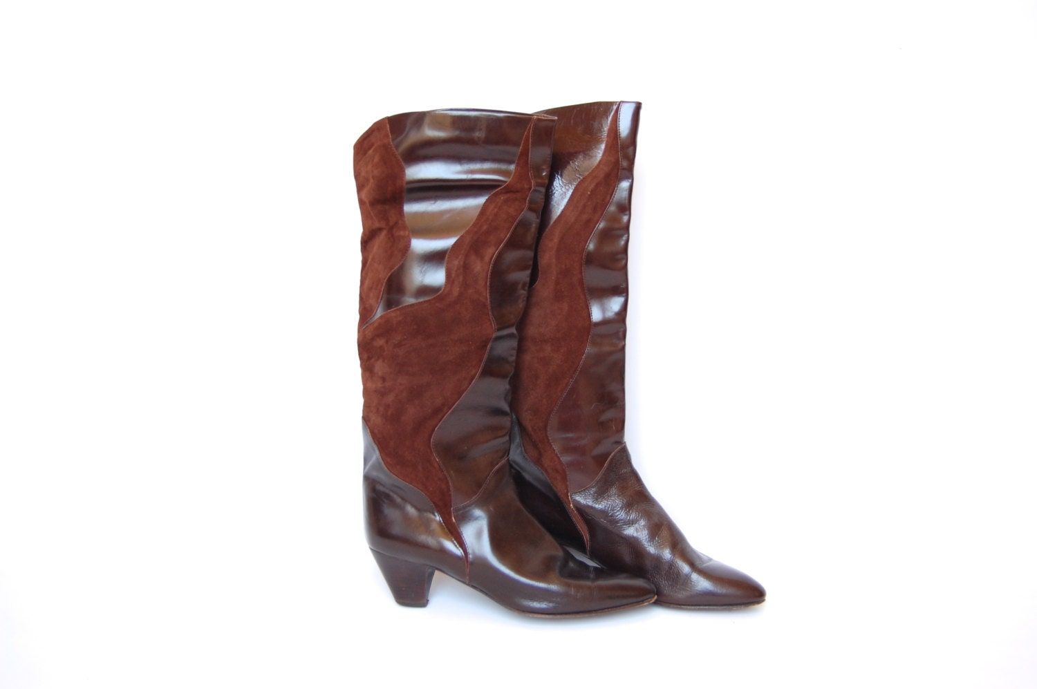 brown suede and leather heel boots 9 5 by