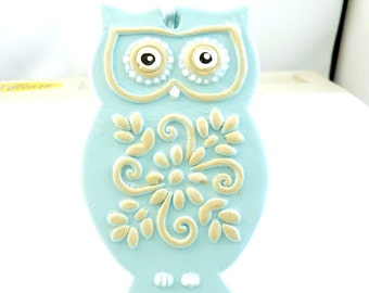 Owl Ornament or Decoration.  Light Turquoise Blue and Tan Hand Painted Plaster Owl. Christmas Ornament or Decoration.