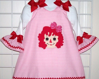 Rag Doll Dress -  Applique with Monogram Pink Gingham A-line Dress & Ruffle Sleeve T-shirt Set - Birthday Party