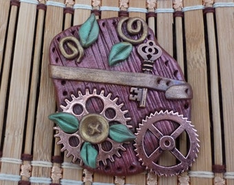 Abstract Steampunk Gadget Block Pin - S105