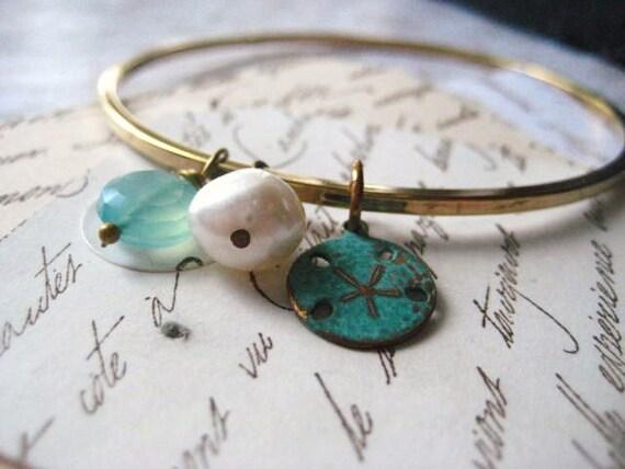 bangle bracelet, sand dollar charm, solid brass, freshwater pearl, Beach bracelet, verdigris charm, candies64 ,aqua chalcedony, candies64