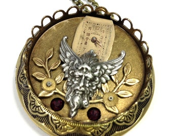 God of the Four Winds Locket ... Steampunk Mystical Four Winds God Locket, Victorian Celestial Locket  One of a Kind