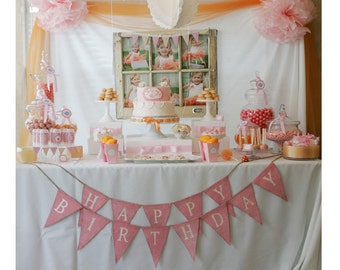 HAPPY BIRTHDAY...Pink Painted Burlap with white glittered font
