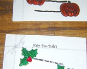 Hair Do-Dah's Holiday Bobby pin (2) sets (4) pins GLITTER Halloween & Christmas Theme