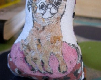 Tiny Pug Art Doll - Meet Tink - The Collage Pug Doll