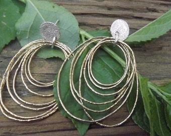 ON SALE Golden Hoops sterling silver post earrings- long dangle - women earrings