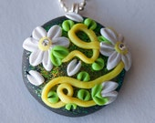Yellow, White and Green Flower Polymer Clay Necklace, Swarovski Crystal, Gifts under 20