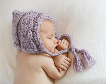 Chunky Cabled Bonnet - Knitting PATTERN - pdf format for newborn, infant, toddler, child, teen and adult