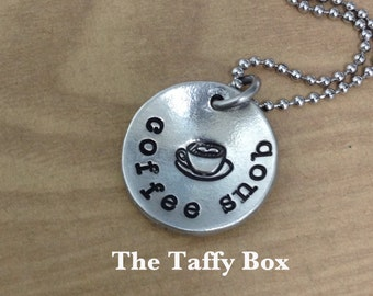 Coffee Snob Hand Stamped Pendant Necklace
