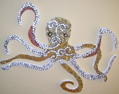 Octopus mosaic yellow gold and white large wall hanging