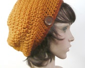 Bristol Beanie in Apricot with Rust - Slouchy Beanie