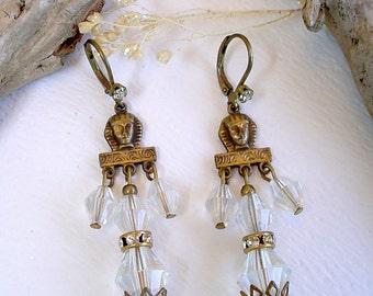 Brass Glass Egyptian Style Dangle Earrings Leverback