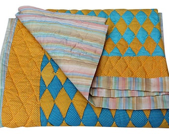 Colorful Vintage Quilt - Yellow and Blue Blanket - Diamond Pattern - Unused - Full