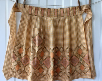 Vintage Half Apron - Gold Tan and White Check Gingham with Beautiful Cross Stitch Detail - L XL