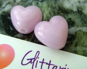 Lampwork Beads Petal Pink Heart Small