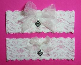 Tampa Bay Rays Wedding Garter Set   White Lace Handmade Wedding Garter Set with charm  Keepsake and Toss