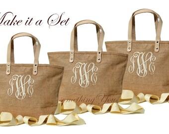 Monogrammed Natural Color Jute Totes Bags Set of 6 Six, Personalized Natural Burlap, bridesmaids destination and rustic weddings vacations
