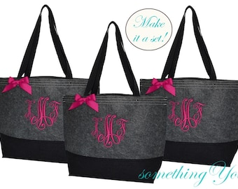 Set of 7 Monogrammed Black and Gray Felt Tote Bags - Personalized felted bridesmaids totes - grey black bridal wedding shower gifts seven