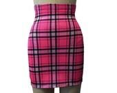The Perfect Tartan Pink Plaid High Waist Spandex Mini Skirt. S, M, L, XL.