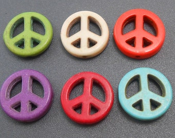 10 Mixed Color Peace Sign Beads howlite 15MM (H1191)