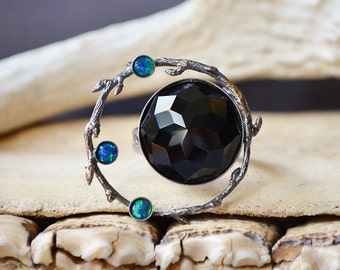 Starry Night Ring Made With Black Onyx And Opals