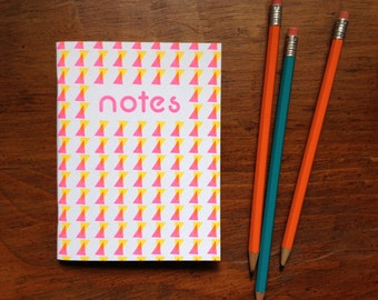 Notes, neon pink eighties notebook