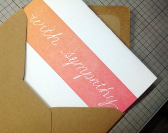 With Sympathy in Sunset Colors / Ombre Letterpress Card
