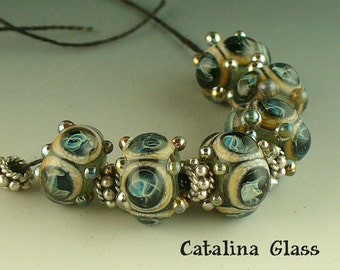 Lampwork Glass Beads Handmade by Catalina Glass SRA  6 Silver Storm Crowns