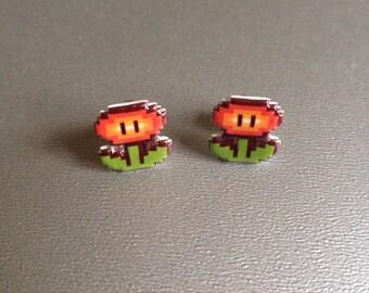 fire flower - super mario 3 stud earrings