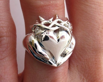 Callie Thorny Claddagh Ring - Celebrity Callie Thorne, Claddagh Ring, Sterling Cladagh Heart ring, Irish Jewelry, Gifts for Her, promise 126