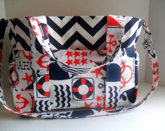 Nautical Diaper Bag - Ahoy Matey - Diaper Bag - Messenger Bag - Chevron Diaper Bag