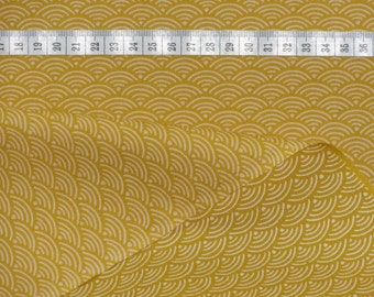 Japanese Wave Fabric, Cotton Fabric by the Half Yard Traditional Yellow Wave 'Seigaiha' Motif  w/Free Shipping