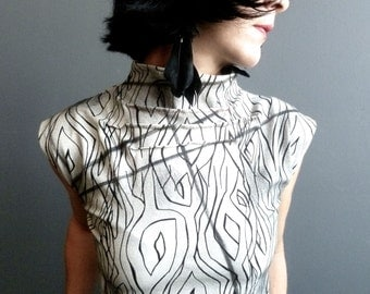 Ghost Stories - iheartfink Handmade Hand Printed Womens Sleeveless Black and White Jersey Top