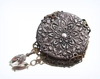 Small Filigree Brooch Black & Silver Pin Assemblage Broach