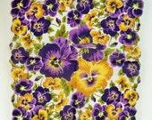 Beautiful Vintage Floral Handkerchief - Purple and Yellow Pansies