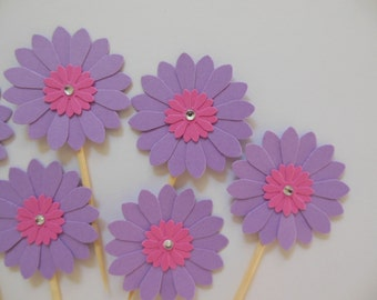 Flower Cupcake Toppers - Lavender and Bright Pink Daisies - Girl Birthday Parties - Bridal Showers - Weddings - Girl Baby Showers - Set of 6