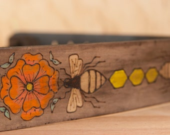 Leather Guitar Strap - Bee Line Pattern - Coral, orange, yellow, gold, green and antique black - acoustic or electric guitars