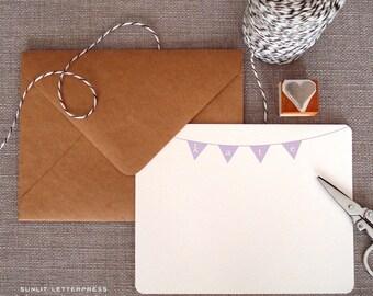Custom Letterpress Note Cards - Set of 50 w/Kraft Envelopes - Bunting Design