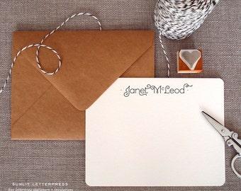 Custom Letterpress Note Cards - Set of 50 w/Kraft Envelopes - Mandeville Design