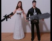 Zombie Hunters Wedding Cake Toppers Custom Figure set - Personalized