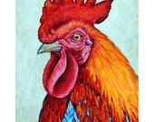 """Rooster Art Print of Original Painting by Dottie Dracos """"Screaming Bright Chicken"""""""