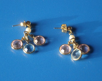 Vintage Pink and Blue Crystal Dangle Goldtone Earrings