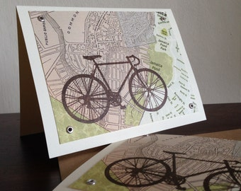 Boston Map and Bike - 12-Pack Screen-Printed Greeting Cards