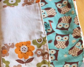 Modern Crinkle Baby Blanket, Owls and Flowers Orange, Aqua & White. Cotton and Flannel, ready to ship Sensory Blanket, Quilt