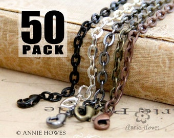 50 Colored Chains with Lobster Clasp. Available in Vintage Copper, Vintage Gold, Black and Silver. Annie Howes.
