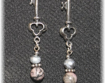 Elegant Key Earrings Sterling Silver and Smokey Earthy Color Gemstones 814SyEarK02