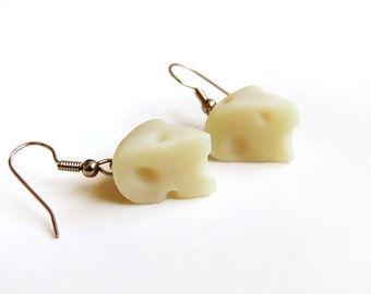 Swiss Cheese Earrings Polymer Clay Miniature Food Jewelry